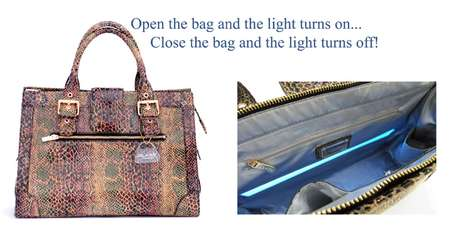 The designer handbag with patented integrated light sysem