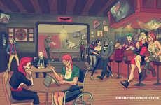 Hipster Superhero Illustrations